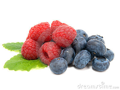 Blueberry and raspberries