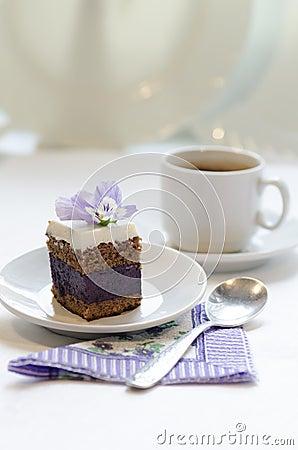 Blueberry s pie bars with ricotta cream, blurred background