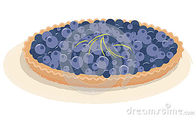 Blueberry tart vector