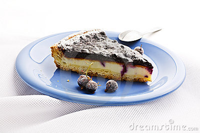 Blueberry Tart on linen tablecloths
