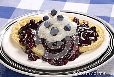 Blueberry waffle breakfast