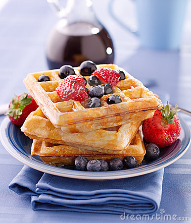 Free Blueberry Waffles With Strawberries Royalty Free Stock Photo - 20836125