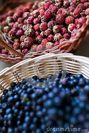 Blueberry and wild berry in a basket