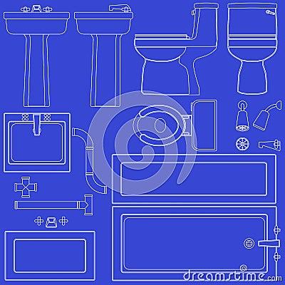 Free Blueprint Bathroom Fixtures Stock Photo - 14834650
