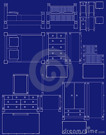 collection of bedroom furniture in blueprint vector style