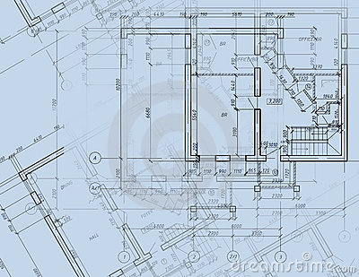 Blueprint Cad Architectural Plan Drawing Stock Images