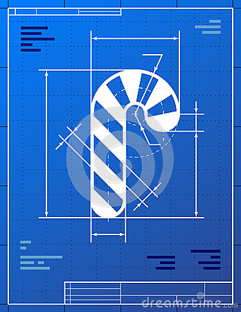 Blueprint drawing of christmas candy cane