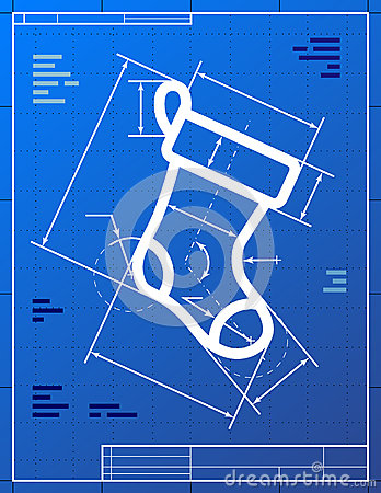 Blueprint drawing of christmas stocking