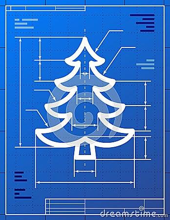 Blueprint drawing of christmas tree