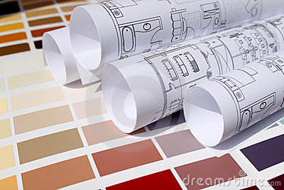 Blueprint of home and paint color palette