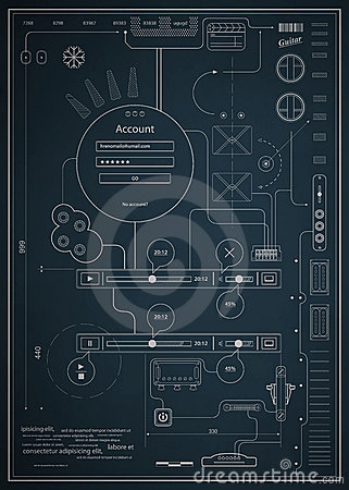 Blueprint infographics drawing a schematic