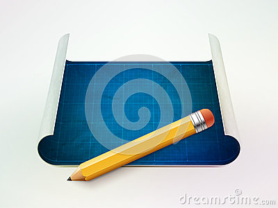 Blueprint and pencil vector illustration
