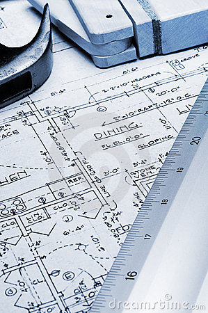 Blueprint with Ruler and Tools