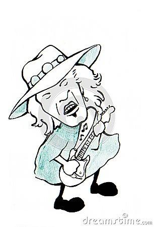 Blues guitar player Cartoon Illustration