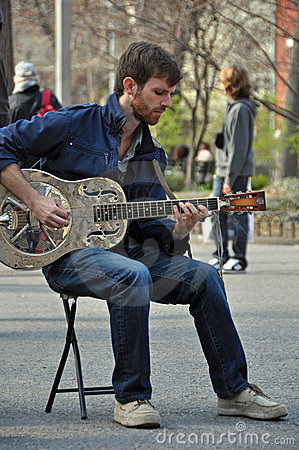 Blues Man and Dobro Guitar in New York Editorial Stock Photo