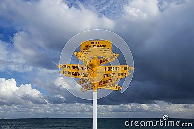 Bluff landmark signpost, New Zealand
