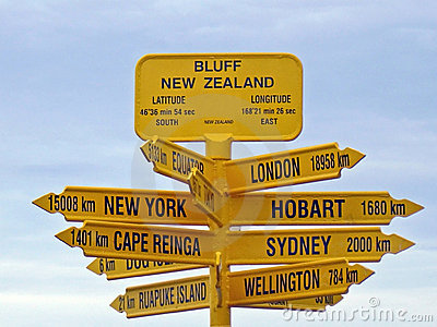 Bluff Signpost, New Zealand
