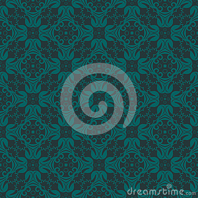 Bluish Green Colors Flower and Plant Pattern Design. Korean trad