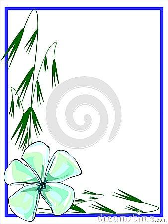 Bluish Green Plumeria Border
