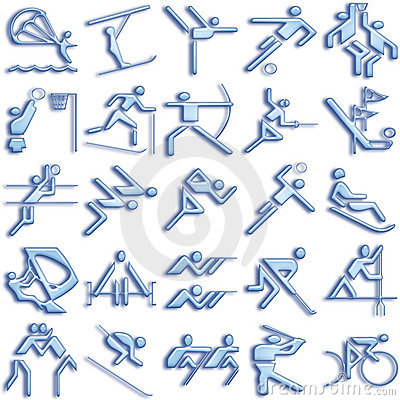 Bluish sports icon set