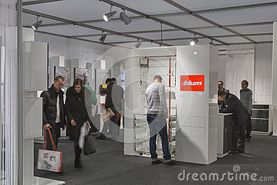 BLUM furniture accessories company booth Editorial Stock Image