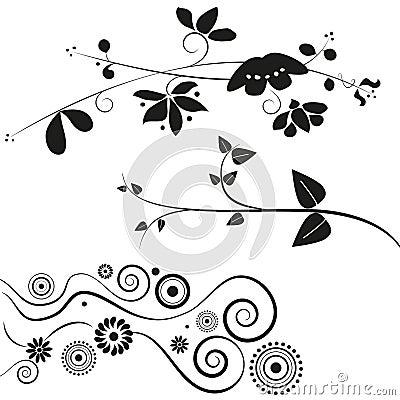 Blumen- und Strudeldekorationen