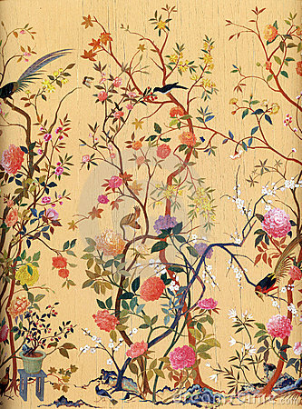 blumen und vogel kunst tapete stockfoto bild 4598880. Black Bedroom Furniture Sets. Home Design Ideas