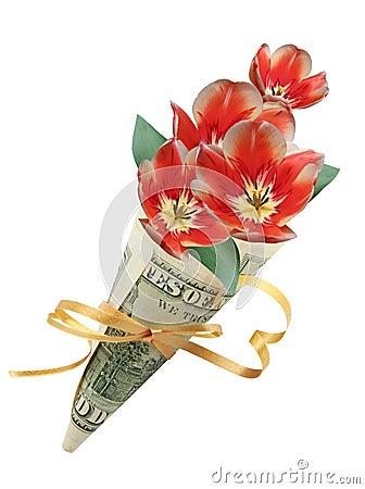 Blumenstrauß in hundert Dollar