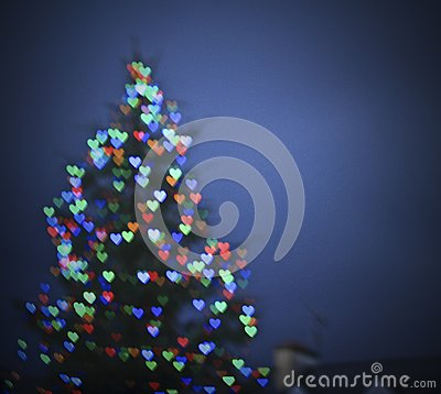 Free Blur Christmas Tree With Hearts Stock Photography - 54503942