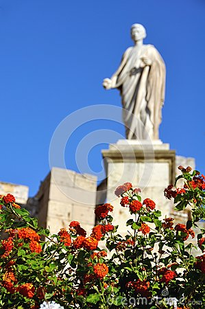 Blured Statue with Red flowers at the forefront