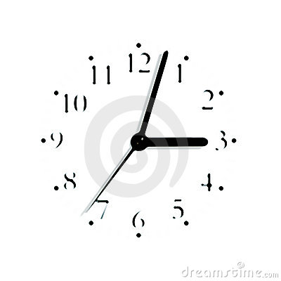 Blurred analogue clock face dial silhouette