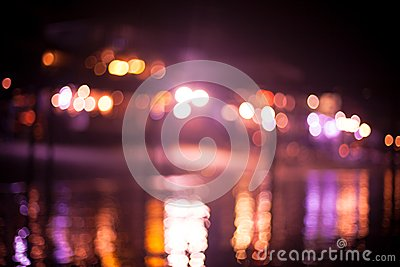 Blurred beach lights with bokeh effect