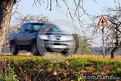 Blurred car
