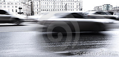 Blurred cars on the road