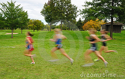 Blurred Girls Cross Country Runners