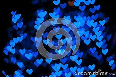 Blurred of heart shape christmas light