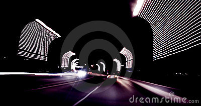 Blurred highway at night