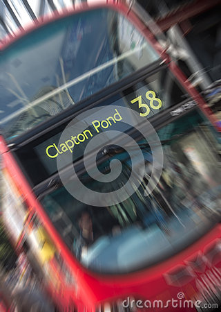 Blurred London bus