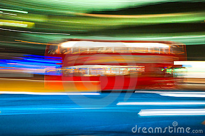 Blurred motion double-decker bus, London, Uk.