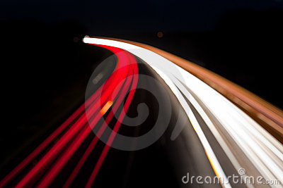 Blurred Night time traffic lights, abstract