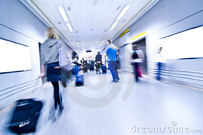 Blurred people on airport
