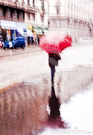 Blurred rainy day in the city
