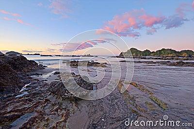 Blurred seascape at dusk, New Zealand
