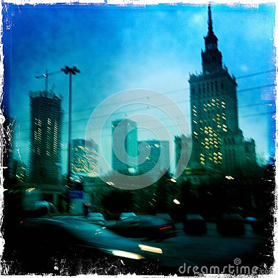 Blurred view of Warsaw at night