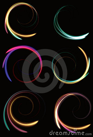 Blurry abstract neon spinning spirals