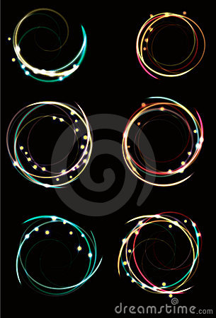 Blurry abstract neon spirals with sparkles