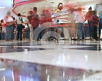 A blurry cafeteria line