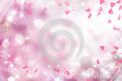 Blurry purple background with pink and white and hearts on Valentine`s day, wedding,holiday,sparkle,bokeh Cartoon Illustration