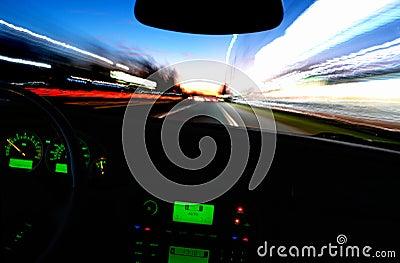 Blurry Street Lights from Inside a Speeding Car