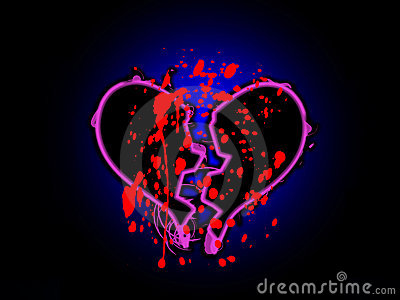 Blut beflecktes unterbrochenes Inneres